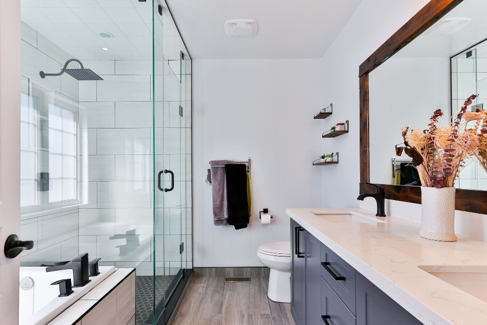 A modern, spacious bathroom that was part of a renovation project