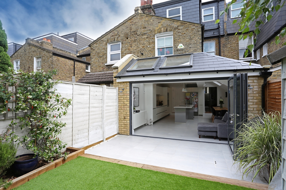 A spacious home with a large house extension which meets the garden.